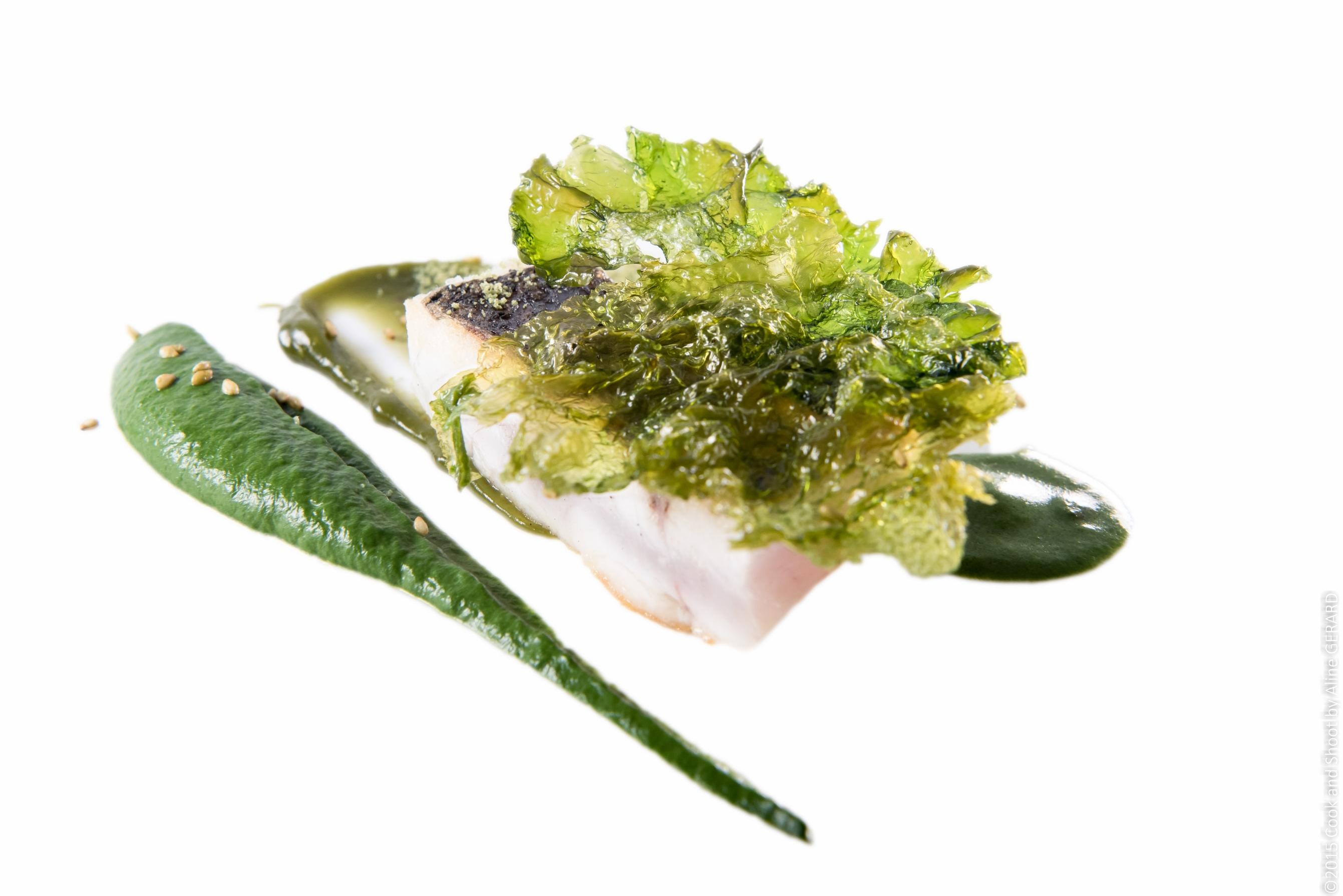 Cod fish, nori, spinach and pistachio