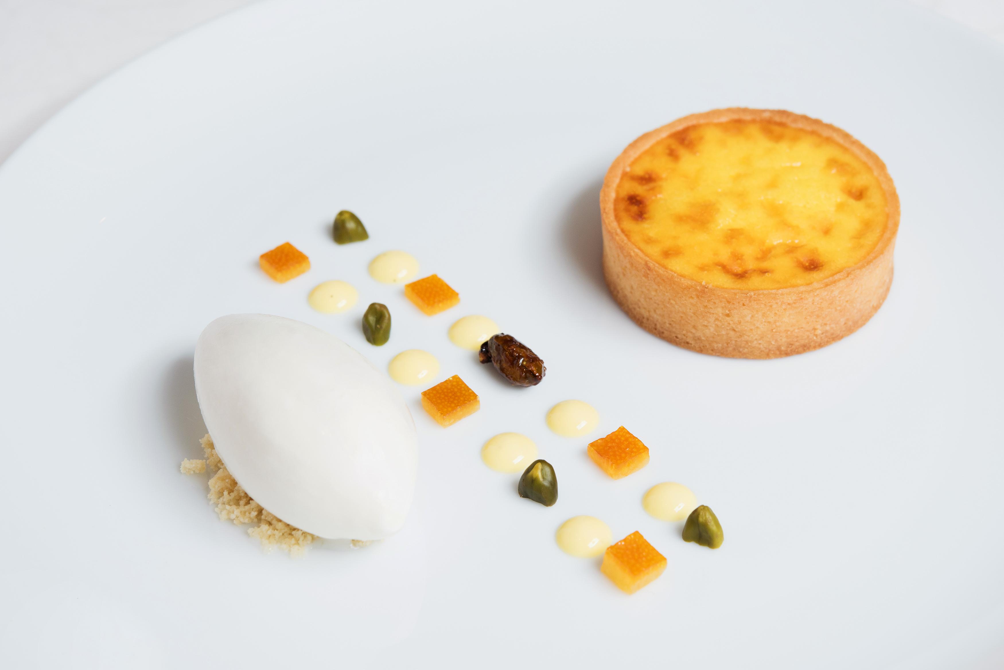 Classic Warm Ricotta Tart, pistachio, candied orange and ricotta gelato