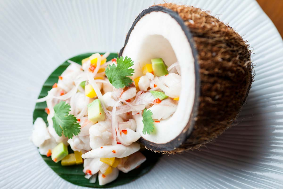 House of Ho, 55-59 Old Compton Street, London W1D 6HW, tel 020 7287 0770, Seafood Ceviche, Mangosteen Coconut Dressing, Truffle Oil